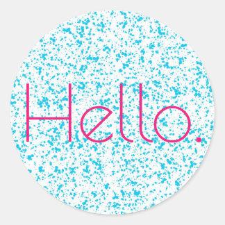 こんにちは青いDalmatianプリントのステッカー ラウンドシール