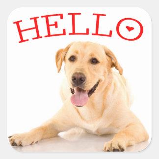 こんにちは黄色いラブラドル・レトリーバー犬の小犬の赤 スクエアシール