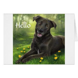 こんにちは黒いラブラドル・レトリーバー犬の挨拶状 カード