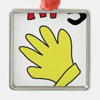 こんにちは5引くこと手の手袋 メタルオーナメント