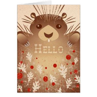 """""""こんにちは""""かわいいヤマアラシのメッセージカード カード"""