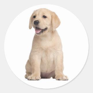 こんにちは/こんにちはラブラドル・レトリーバー犬の小犬のステッカー ラウンドシール