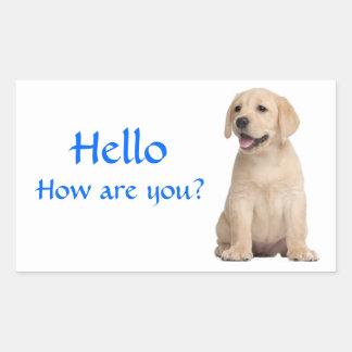 こんにちは/こんにちはラブラドル・レトリーバー犬の小犬のステッカー 長方形シール