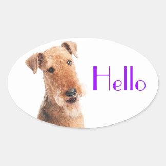 こんにちは/こんにちはAiredaleの小犬のステッカー/ラベル 楕円形シール