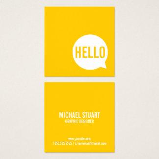 こんにちは|のカジュアルでモダンで白く及び黄色のスピーチの泡 スクエア名刺