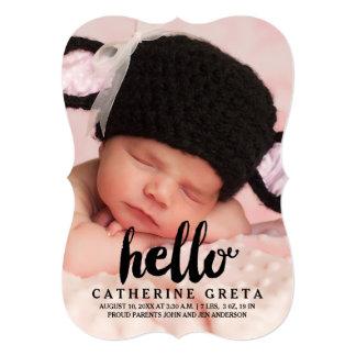 こんにちは|のモダンな女の子の赤ん坊の誕生の発表 12.7 X 17.8 インビテーションカード