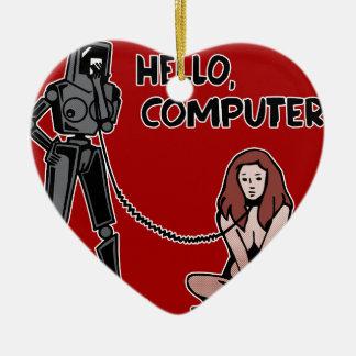 こんにちは、コンピュータ セラミックオーナメント