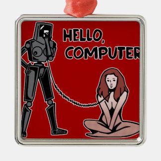 こんにちは、コンピュータ メタルオーナメント