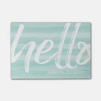 こんにちは-モダンおよびお洒落-ティール(緑がかった色)の水彩画 ポストイット