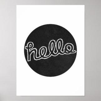 こんにちは-白黒 ポスター
