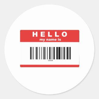 こんにちは、私の名前はギークのバーコードです ラウンドシール