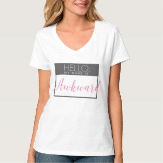 こんにちは、私の名前はピンクおよび灰色の扱いにくいワイシャツです Tシャツ