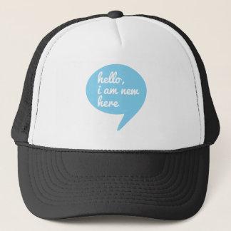 こんにちは、私はここに新しいです、青いスピーチの泡います キャップ