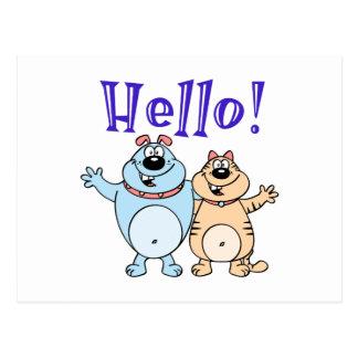 こんにちは、2つのかわいい漫画のデザイン ポストカード