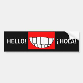 こんにちは! - ¡ HOLA! -マイルのスマイルのバンパーステッカー バンパーステッカー