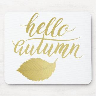 こんにちはAtumn |ののどの金ゴールドのブラシの原稿 マウスパッド