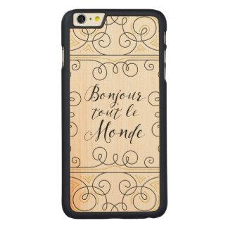 こんにちはEverbodyの陽気なフランス人のBonjourのダフ屋ルモンド CarvedメープルiPhone 6 Plus スリムケース