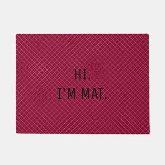 こんにちはImマットおもしろいな深紅色パターン出入口のマット ドアマット