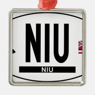 こんにちはNIUステッカー メタルオーナメント