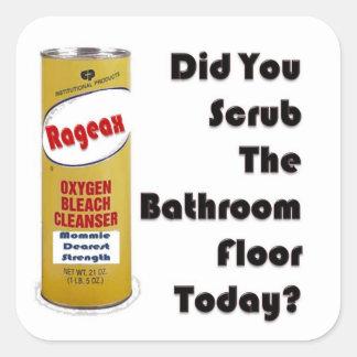 ||ごしごし洗って下さい|浴室|床|今日か。 正方形シールステッカー