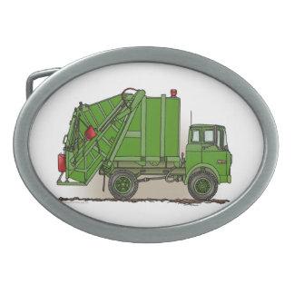 ごみ収集車の緑 卵形バックル