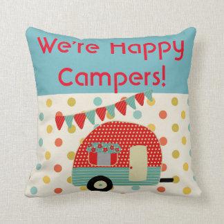 ご機嫌な人-キャラバンのキャンプのことわざの枕 クッション