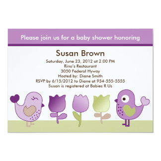 さえずりか小鳥及びチューリップのベビーシャワーの招待状 カード