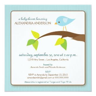 さえずりのさえずりのカスタムなベビーシャワーの招待状(青い) カード