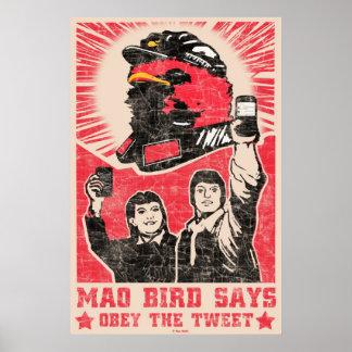 さえずりのTwitterの赤い毛の鳥ポスターに従って下さい ポスター