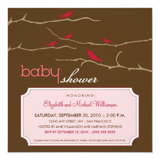 さえずり! さえずり! ベビーシャワーの招待状(ピンク) カード