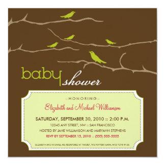 さえずり! さえずり! ベビーシャワーの招待状(ライム) カード