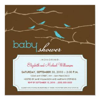 さえずり! さえずり! ベビーシャワーの招待状(水) カード