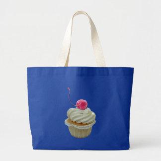 さくらんぼのバッグが付いているカップケーキ ラージトートバッグ