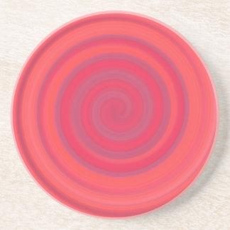 さくらんぼのピンクのレトロキャンデーの渦巻 コースター