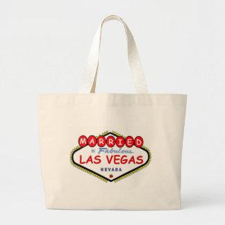 さくらんぼのロゴのトートバックが付いているラスベガスで結婚した ラージトートバッグ