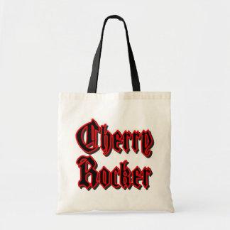 さくらんぼのロッカーのバッグかトート-黒い文字w/Redのボーダー トートバッグ