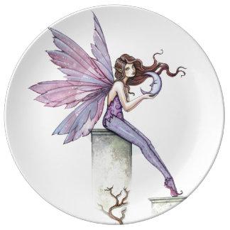 ささやく月の妖精のファンタジーの芸術のイラストレーション 磁器プレート