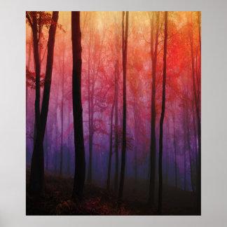 ささやく森、木の森林景色の芸術 ポスター