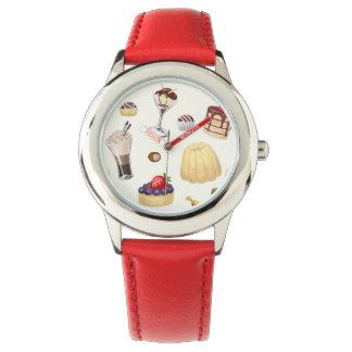 さまざまなデザートが付いている甘いパターン 腕時計