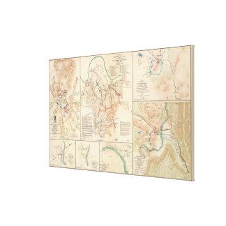 さまざまな内戦の戦場のヴィンテージの地図(1895年) キャンバスプリント