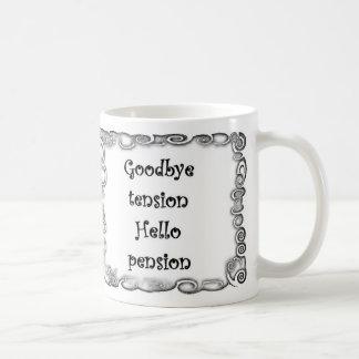 さようなら張力こんにちは年金のマグ コーヒーマグカップ