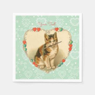さらさの子ネコのバレンタインのハート スタンダードカクテルナプキン