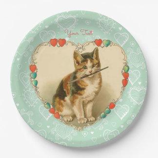さらさの子ネコのバレンタインのハート ペーパープレート