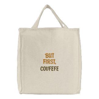 しかし最初に、COVFEFE |のおもしろいな刺繍されたトートバック 刺繍入りトートバッグ