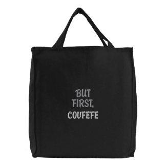 しかし最初に、COVFEFE |のおもしろいな刺繍された黒いバッグ 刺繍入りトートバッグ
