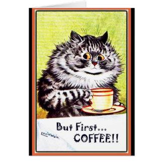"""""""しかし最初コーヒー""""ヴィンテージ猫カードルイWain カード"""