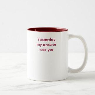 しかし私の答えはいいえ今日ありません! ツートーンマグカップ