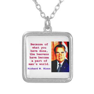 したことをのために-リチャード・ニクソン シルバープレートネックレス
