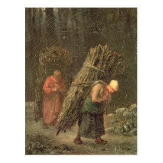 しば、c.1858を持つ小作農の女性 ポストカード