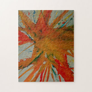 しぶきの抽象的な絵画のパズルかジグソーパズル ジグソーパズル